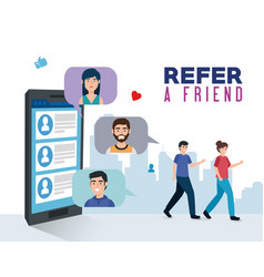 Poster refer a friend with young people and vector