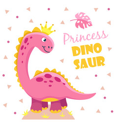 Princess dinosaur cute pink girl dino baby child vector
