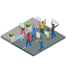 protest isometric people with placard vector image