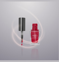 red nail polish on light background vector image