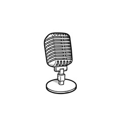 retro vintage microphone hand drawn outline doodle vector image