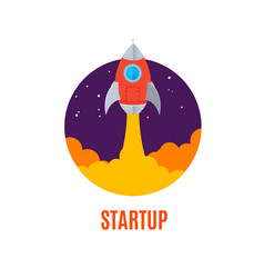 rocket ship startup concept banner flat design vector image