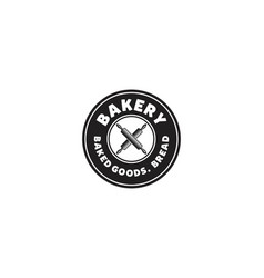 round emblem hipster crossed rolling pin bakery vector image