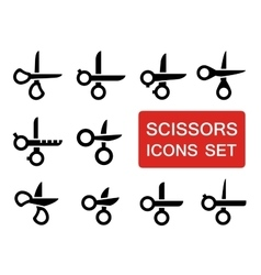 scissors set with red signboard vector image
