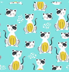 seamless childish pattern with funny cats vector image