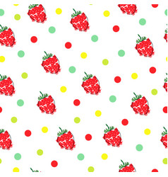 Seamless pattern with strawberries and polka dots vector