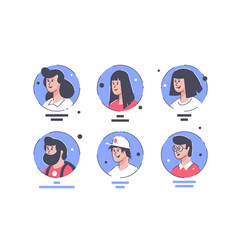 set icons with people avatars men and women vector image