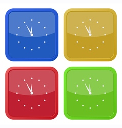 set of four square icons - with clock vector image