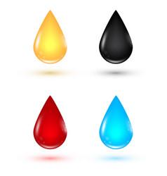Set transparent drops different forms vector