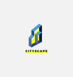 simple city architect urban property logo design vector image