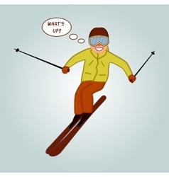 Skier jumping pose on winter outdoor background vector image