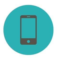 Smartphone flat grey and cyan colors round button vector
