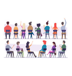 Study people college students sitting on chair vector