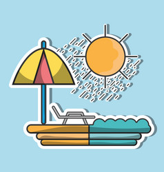 Sun seat with umbrella to vacation vector