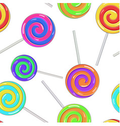 swirl lollipops as seamless pattern colored vector image