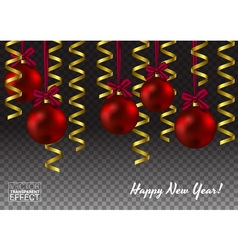 Template of glass Christmas red ball Shiny toy vector image