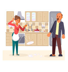 the married couple quarrels in the kitchen vector image