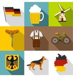 Tourism in Germany icons set flat style vector image