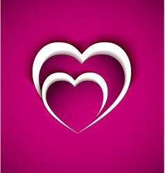 Two heart from paper with shadow effect vector