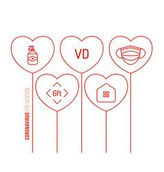 Valentine day coronavirus outline heart balloon vector