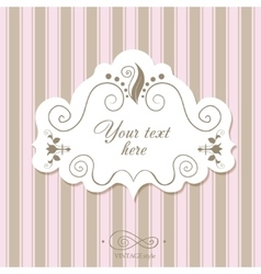 Vintage border frame on a striped background vector image