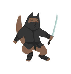 Warlike ninja dog character fighting with a katana vector