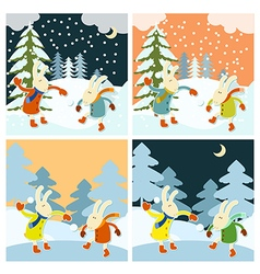 Winter games of hares vector image