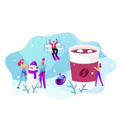 Winter holidays activity and outdoor spare time vector
