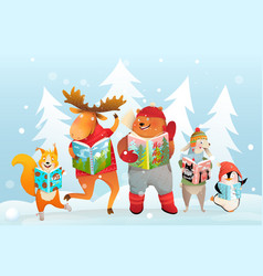 Winter kids animals reading books in snow forest vector
