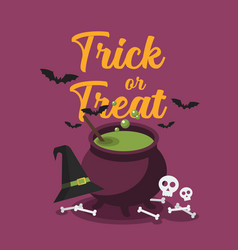 witch cauldron with bubbling green potion vector image