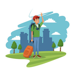 Young guy traveler tourist city grass tree vector
