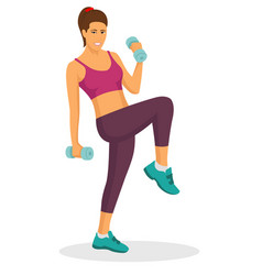 young woman doing exercise using dumbbell vector image