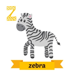 Zebra Z letter Cute children animal alphabet in vector