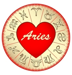 zodiac sign Aries for lovers on Valentine vector image