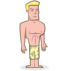 buff guy surfer vector image