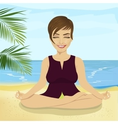businesswoman doing yoga on tropical beach vector image