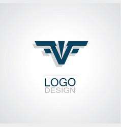 letter v wing logo vector image