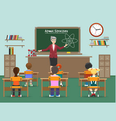 physics lesson with kids in classroom vector image