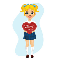 schoolgirl holding red heart with thank you text vector image vector image
