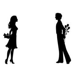 Silhouettes of man and woman with gifts vector image vector image