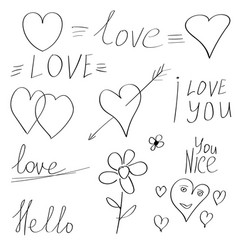 valentine elements doodle hand drawn calligraphy vector image vector image
