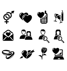 Love and dating icons vector