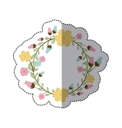 sticker circular arch with leaves and flowers vector image