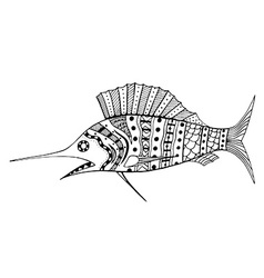 Tangle Patterns stylized Fish vector image vector image