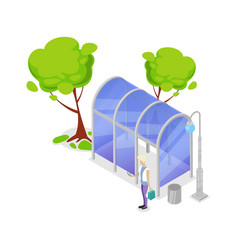 transport stop isometric 3d icon vector image vector image