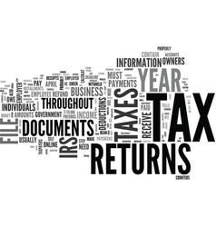 what s so special about tax returns text word vector image vector image