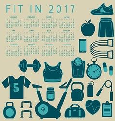 2017 Fitness calendar vector image vector image