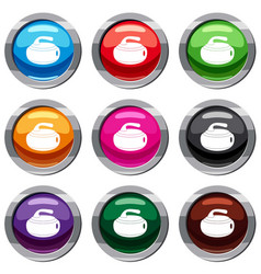 curling stone set 9 collection vector image