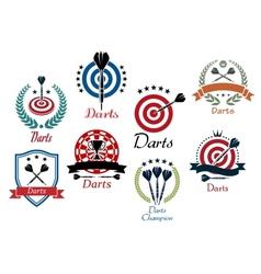 Darts sporting emblems symbols and icons vector image