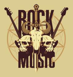 emblem with skulls sword guitars and pentagram vector image vector image